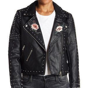 BLANK NYC Stud Floral Moto Jacket L NWT